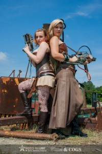 Corseted Models in steampunk skirts and corsets